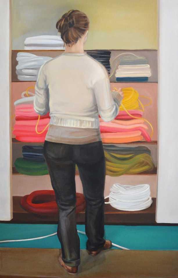 Melanie Kramer | Kabellängenprüferin | 2012 | Öl auf Leinwand | 160 x 100 cm | 2900 Euro