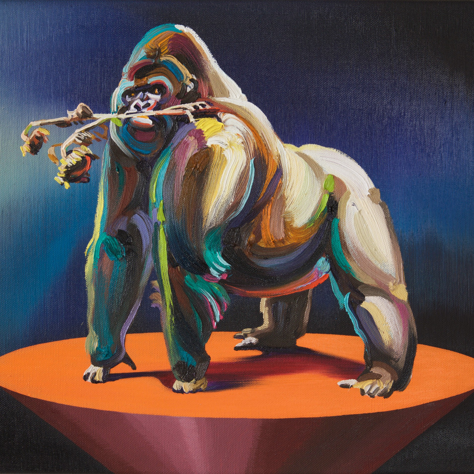 Changmin Lee   Gorilla   2016   Öl auf Leinwand   50 x 60 cm   1800 Euro