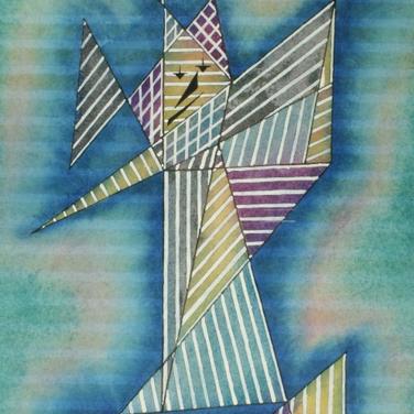 Georg Paul I gestreifter Harlekin, geometrisch I 1969 I Aquarell I 41 x 28 cm I 1400 Euro