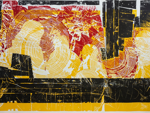 Erik Seidel  Furore I   2016   Holzdruck   Druckstock 108 x 190 cm   Papier 124 x 220 cm  1200 Euro   gerahmt 1500 Euro
