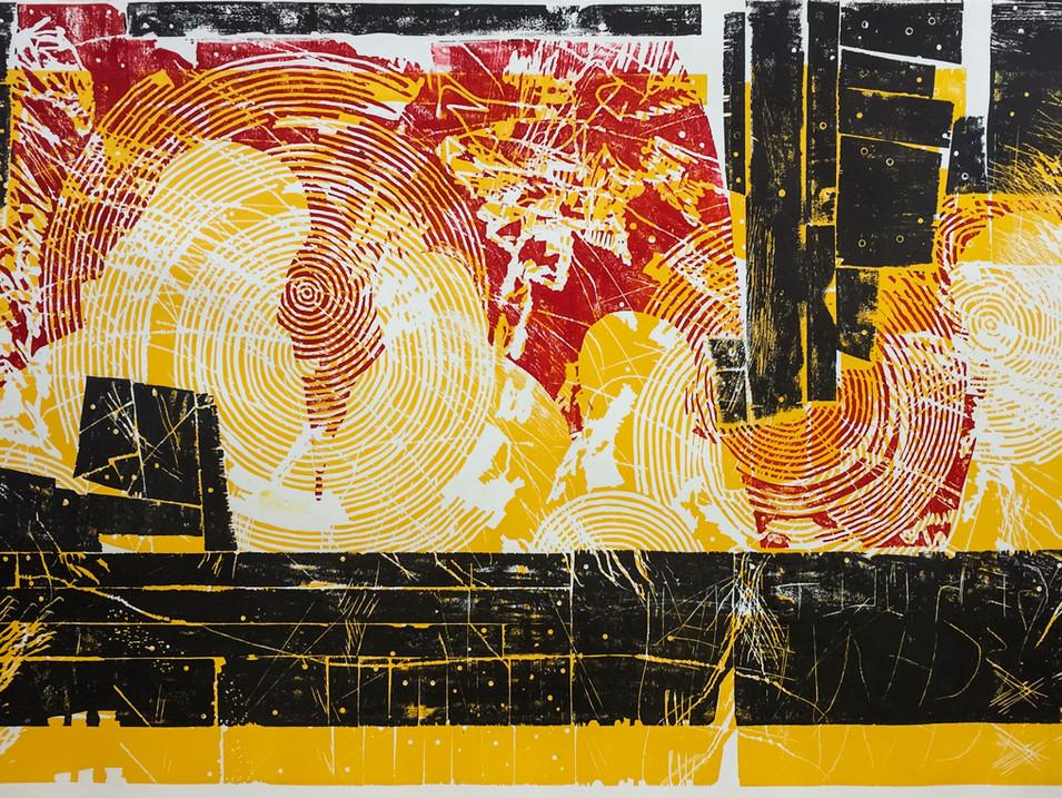 Erik Seidel |Furore I | 2016 | Holzdruck | Druckstock 108 x 190 cm | Papier 124 x 220 cm |1200 Euro | gerahmt 1500 Euro