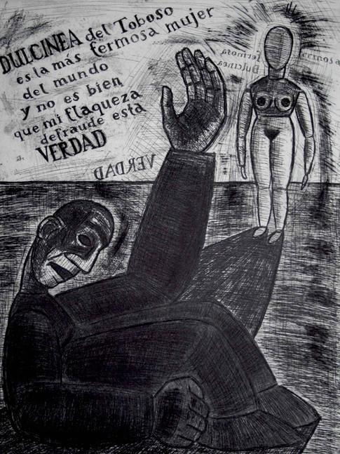 Nuria Quevedo | Dulcinea von Toboso ist das schönste Weib der Welt | Blatt 5 | 2004 | Radierung, Aquatinta, Kaltnadel | 37,5 x 30 cm