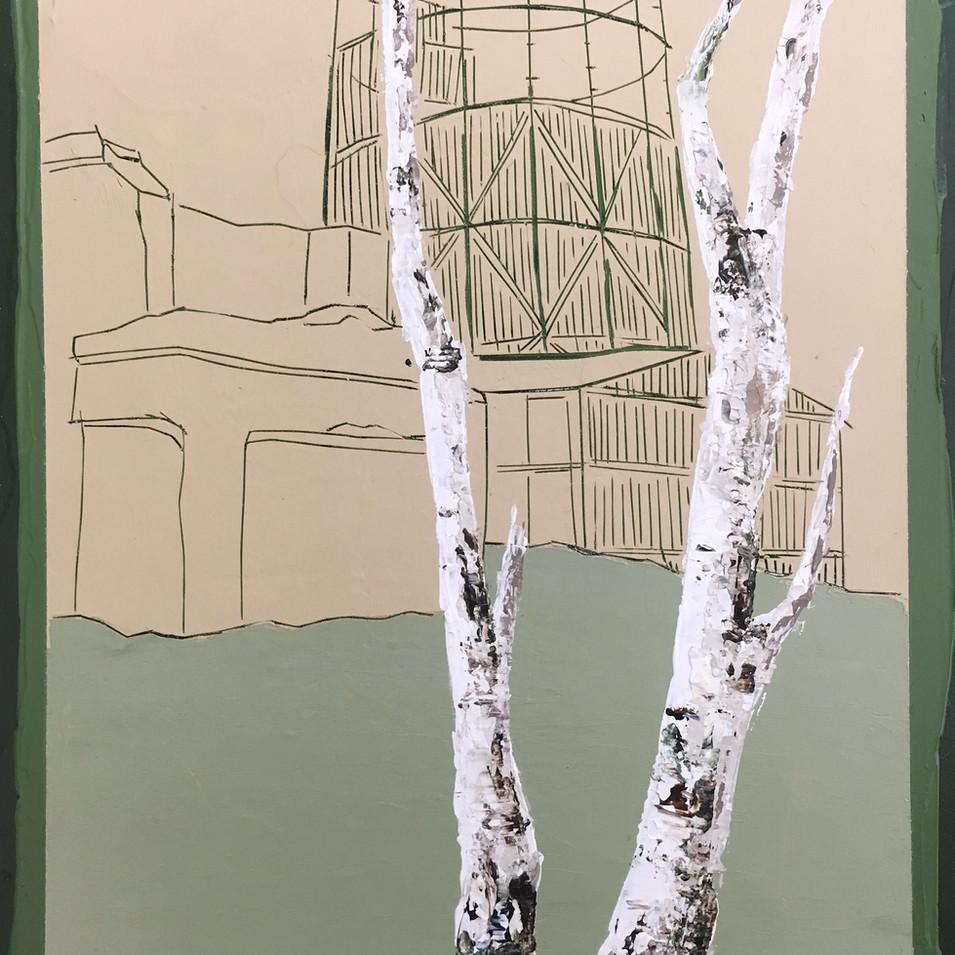 Andrea Imwiehe I Constructing Childhood 27 | 2018 | Acryl auf Holz | 20 x 15 cm | 700 Euro