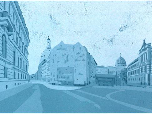 Harald Alff | Salzgasse | Farbholzschnitt | 2013 | Papierformat 50 x 70 cm | Grafikformat 31,5 x 59,5 cm | 180 Euro