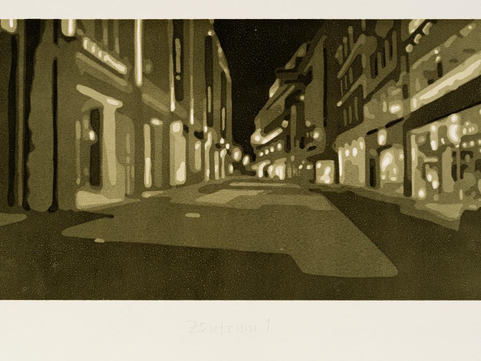 Harald Alff | Zentrum 1 | FHS + Rahmen | 2011 | Papierformat 44,5 x 76,5 cm | Grafikformat 27 x 60 | 230 Euro