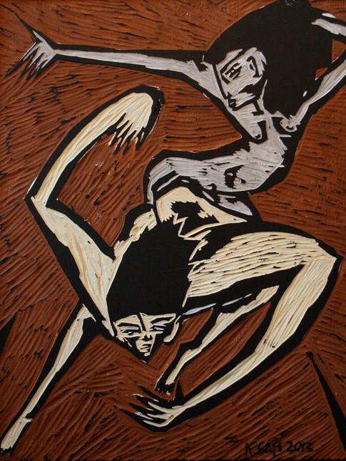 Klaus Süß   Tanz III   2013   bemalter Druckstock   50,5 x 61 cm   1400 Euro