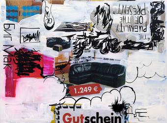 Oliver Kossack | Bataille of the Worlds, re-resolved | 2010 | Öl, Sprühlack auf Leinwand | 140 x 190 cm | 3800 Euro