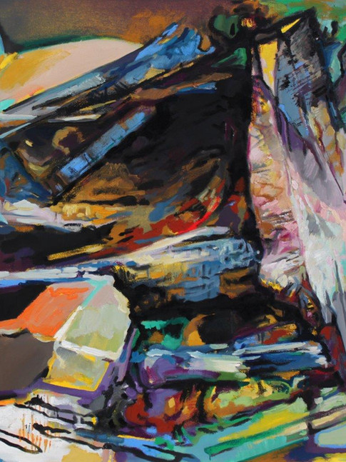 Eckehard Fuchs   Obstacle   2015   Öl auf Leinwand   100 x 100 cm   3200 Euro