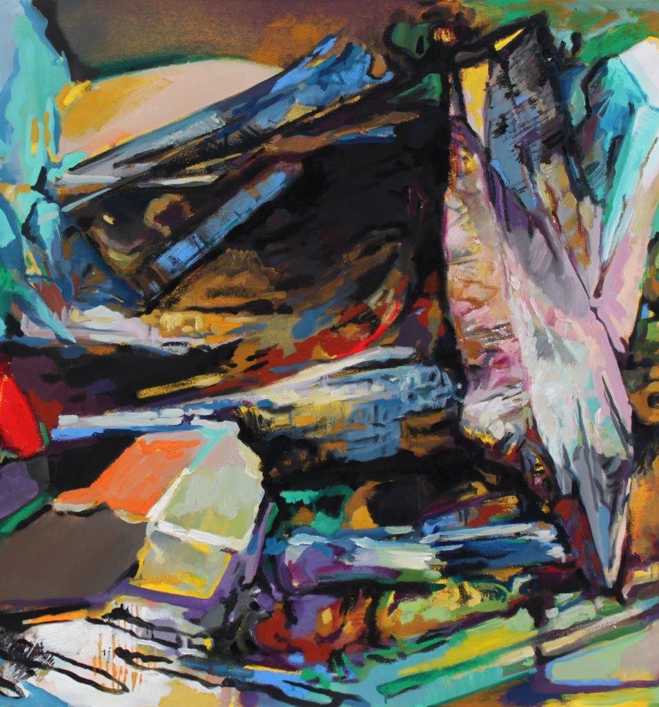 Eckehard Fuchs | Obstacle | 2015 | Öl auf Leinwand | 100 x 100 cm | 3200 Euro