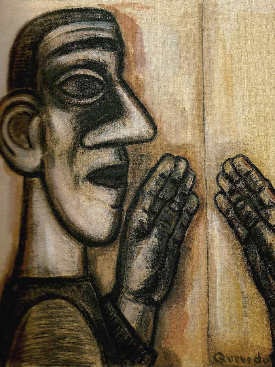 Nuria Quevedo | Kopf-Hand | 1993 | Kohle, Tempera auf Leinwand| 120 x 110 cm