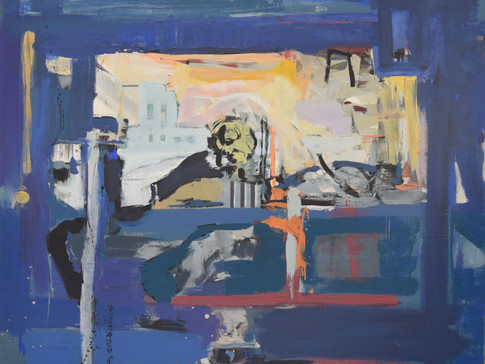 Harald Gallasch/ Wolfgang Opitz | Blauer Einblick |2000 | Malerei auf Leinand | 130 x 130 cm | 4900 Euro