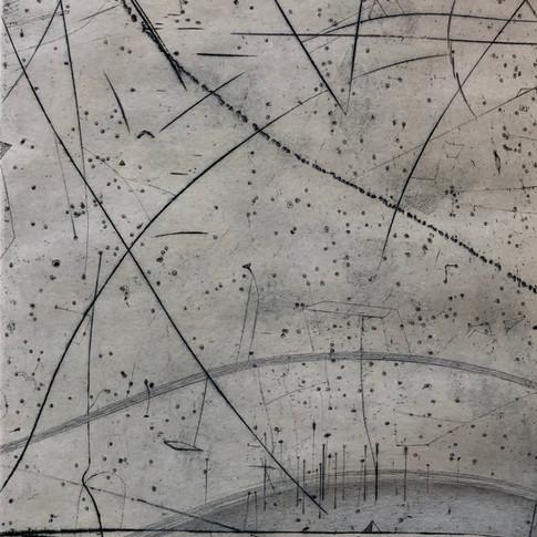 Thomas Ranft | Schwingungen 2 | 2017 | Kaltnadel überzeichnet | 1/1 | 38 x 50 cm | 250 Euro