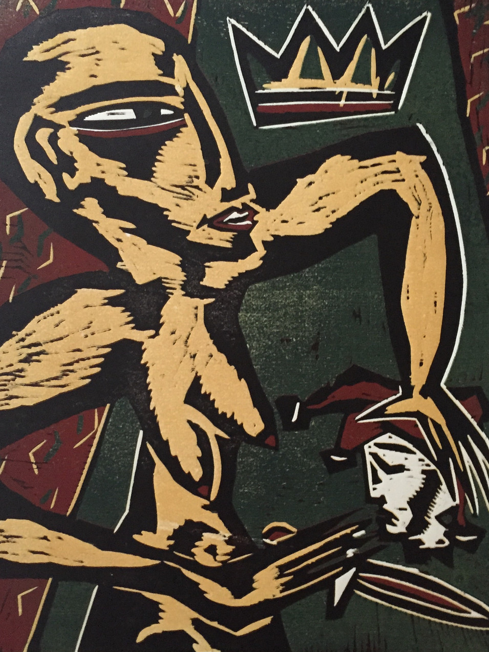 Klaus Süß   Der Tod des Narren   Mappe König und Narr   2000   Farbholzschnitt   5/10 51 x 41 cm   Mappe komplett1400 Euro