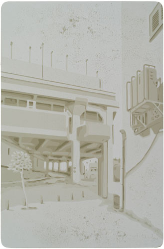 Harald Alff | Tel Aviv 6 | Farbholzschnitt | 2013 | Papierformat 60 x 42 cm | Grafikformat 48 x 32 cm | 150 Euro