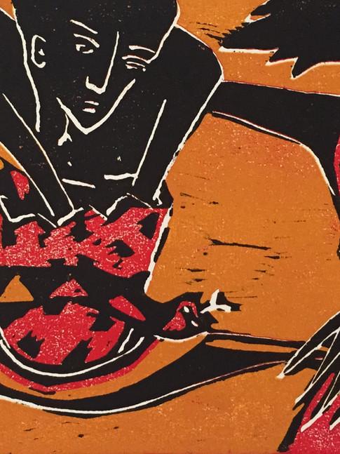 Klaus Süß   Eierlauf   Mappe Spiel mit mir   2012   Farbholzschnitt   5/6   35 x 50 cm  Mappe komplett 1300 Euro