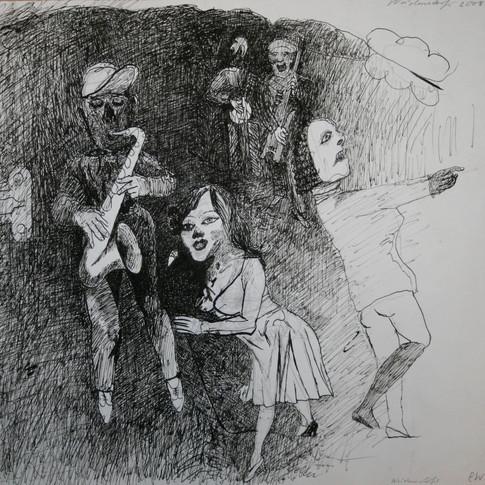 Claus Weidensdorfer | Kappelle II | 1988-2011 | Feder, Tusche auf Papier | 39 x 47 cm