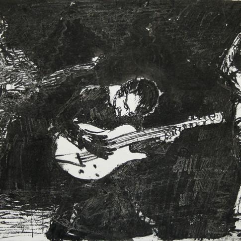 Claus Weidensdorfer | Gitarrentrio | 1998 | Feder, Pinsel, Tusche auf Papier | 22,5 x 93,5 cm