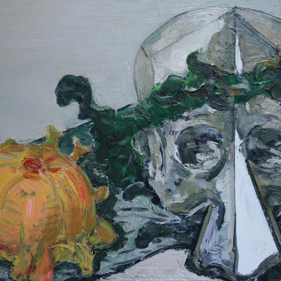 Hubertus Giebe | Stillleben mit Maske und Zierkürbis | 2000 | Ölfarbe auf Leinwand | 61 x 80 cm | 4900 Euro