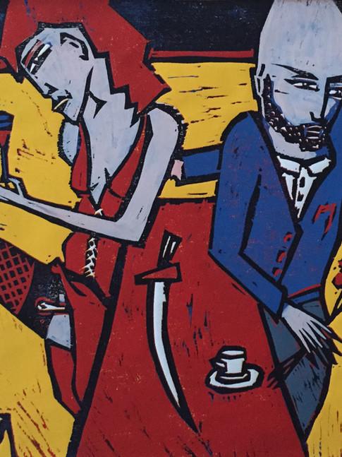Klaus Süß   Der Bruch   Mappe Tischgeschichten   2007   Farbholzschnitt   6/10   50 x 40 cm  Mappe komplett 1400 Euro