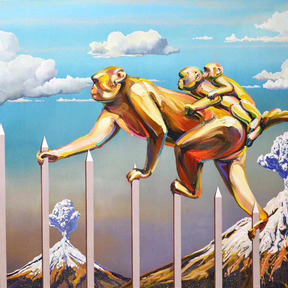 Changmin Lee| Affen | 2015 | Öl auf Leinwand | 150 x 200 cm | 9000 Euro