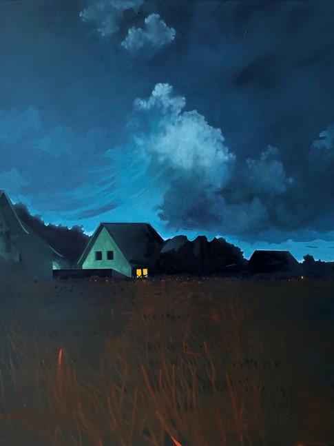 Thomas Geyer | Vor der Nacht |2020 | Eitempera auf Leinwand | 90 x 100 cm |4200 Euro