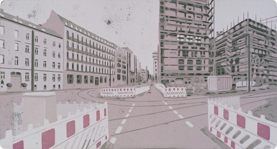 Harald Alff | Berlin 2 | Farbholzschnitt | 2013 | Papierformat 50 x 70 cm | Grafikformat 31,5 x 59,5 cm | 180 Euro