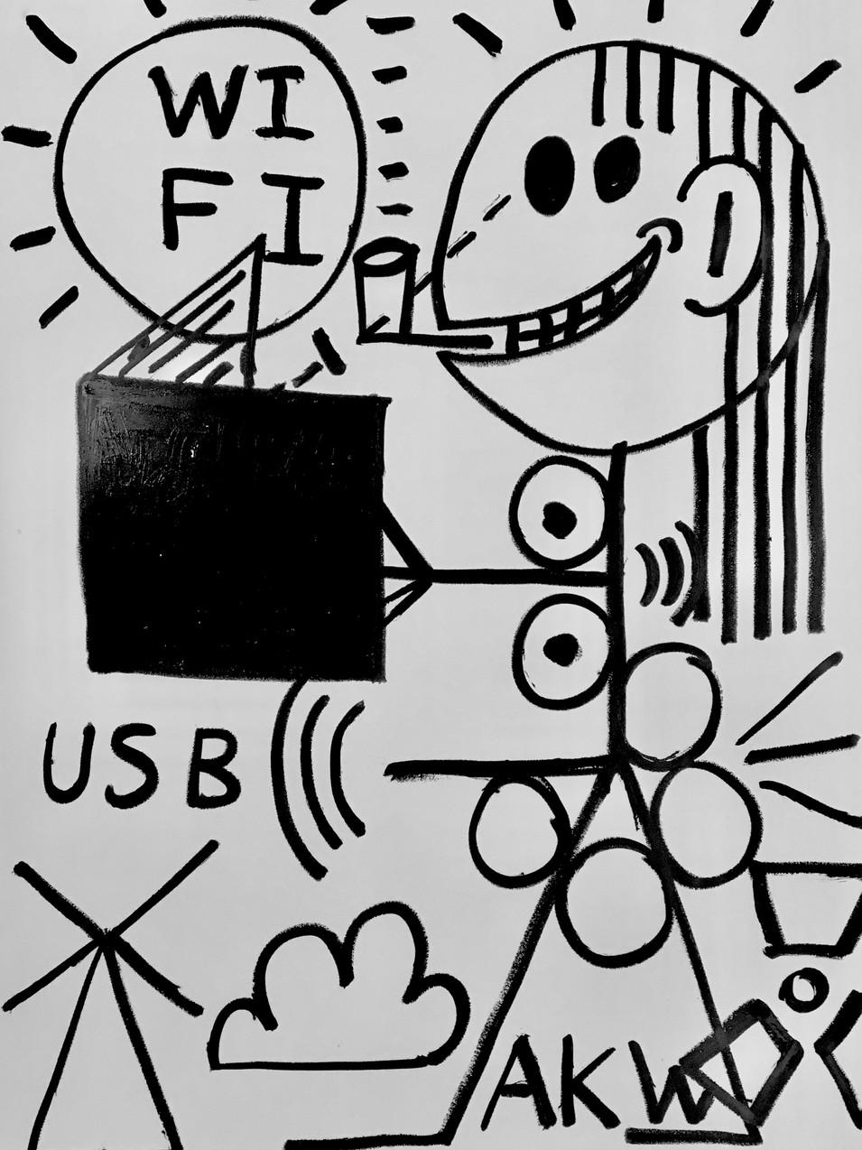 Oliver Kossack | Alles auf einmal | 2020 | Ölstick auf MDF | 70 x 50 cm | 1900 Euro