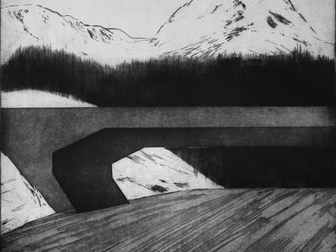 Julia Ludwig   Landschaft   2013-2015   Mezzotinto, Aquatinta, Kaltnadel   50 cm x 58 cm   370 Euro