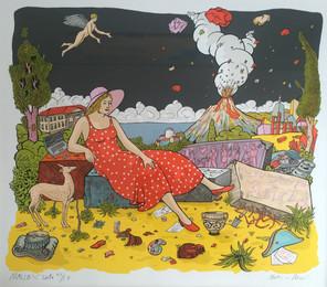 Moritz Götze | Nachts in Neapel | 2016 | Serigrafie | gerahmt | 70 x 80 cm | 350 Euro
