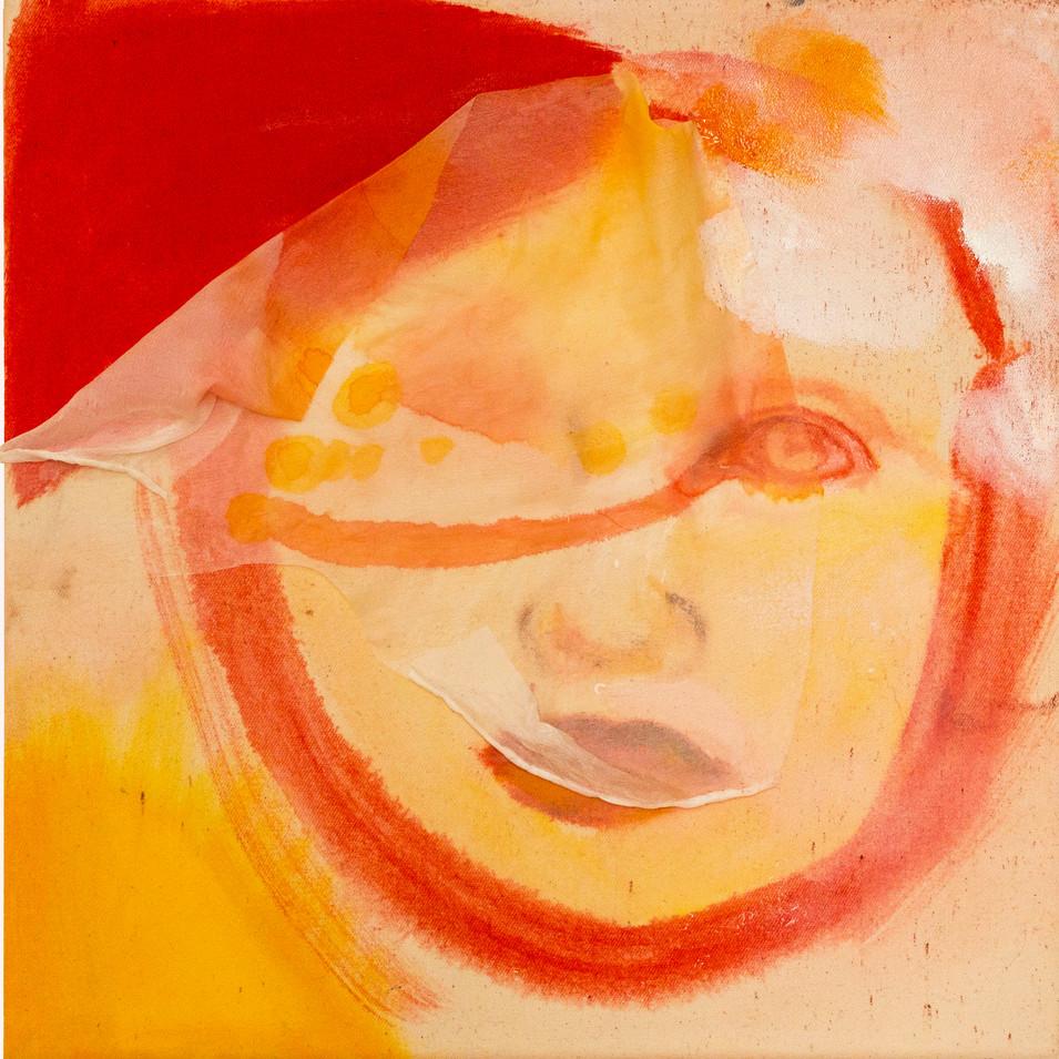 Caroline Scheel | o.T. | 2016 | Öl auf grundiertem Mischgewebe, Seide, Pigment | 30,5 x 30 cm | 360 Euro