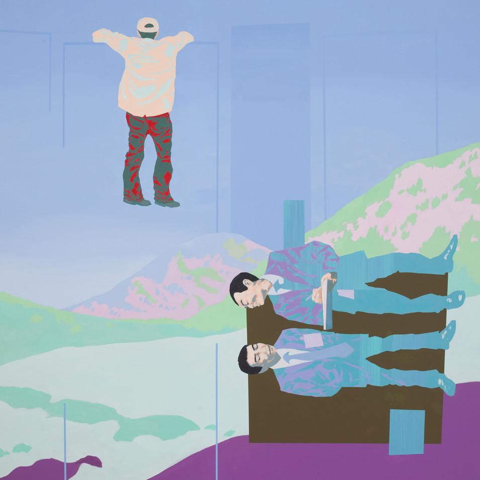Pierre Fischer |over the fence |2010| Öl und Acryl auf Leinwand |160 x 140 cm |6500 Euro
