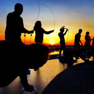Training im Sonnenuntergang