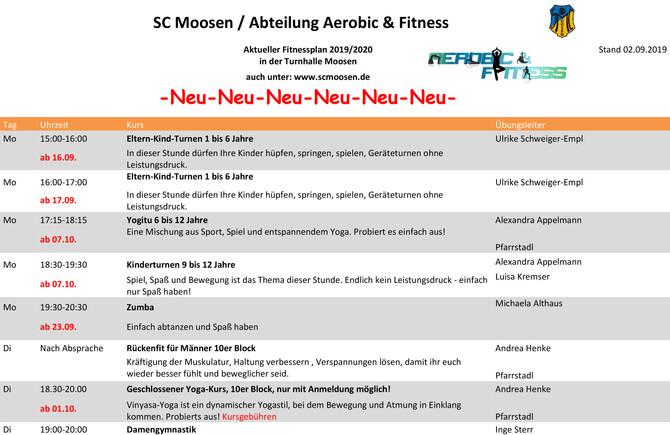 Neuer Fitnessplan ist online!