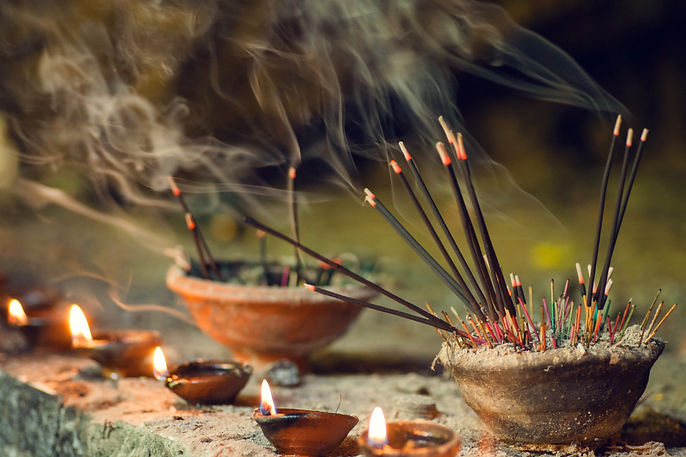 Burning aromatic incense sticks. Incense