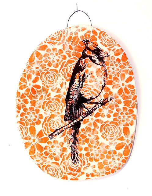 Tableau en faïence oiseau fleuri La Céramique de Flo