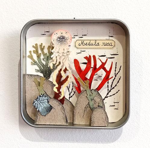 Fond main et méduse en papier découpé dans boite en métal ancienne de Céline Chevrel