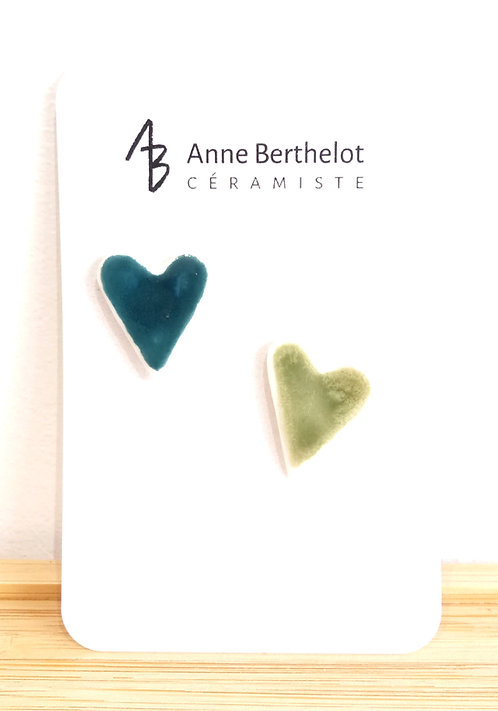 Duo de pins coeurs en porcelaine vert/canard Anne Berthelot