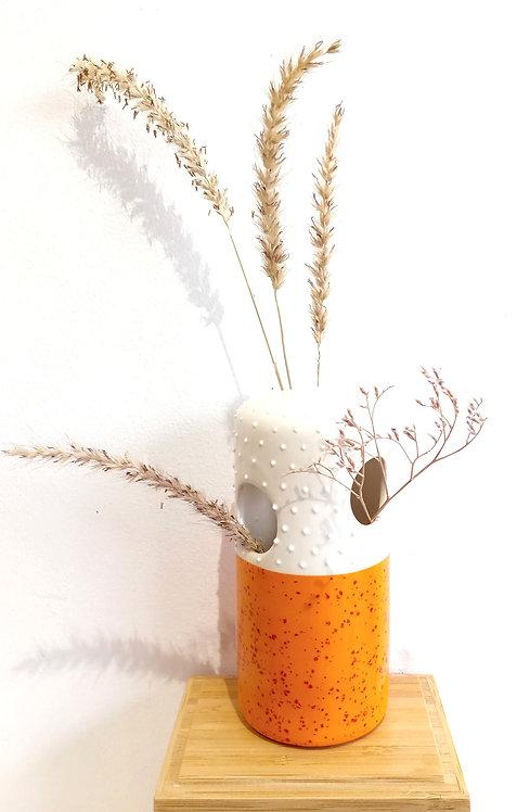 Vase soliflore 3 trous MM en faïence orange La Céramique de Flo