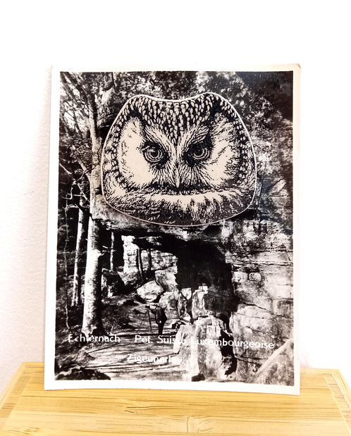 """Broche en faïence """"tête de hiboux"""" sur photo ancienne en noir et blanc de Stéphanie Cahorel."""