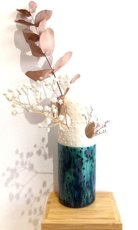 """Vase soliflore """"4 trous"""" turquoise foncé de Florence Sempé"""