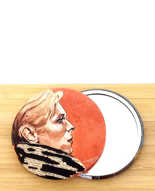 """Miroir de sac avec visuel """"David Bowie"""" tiré d'une oeuvre de l'artiste tourangelle Mam Kaan"""