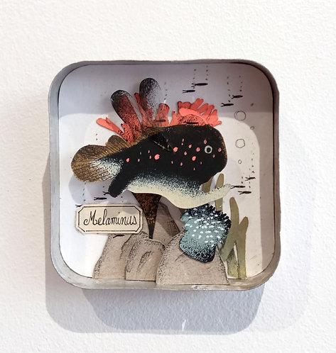 Fond marin en papier découpé, petite oeuvre de Céline Chevrel dans une ancienne boite en métal
