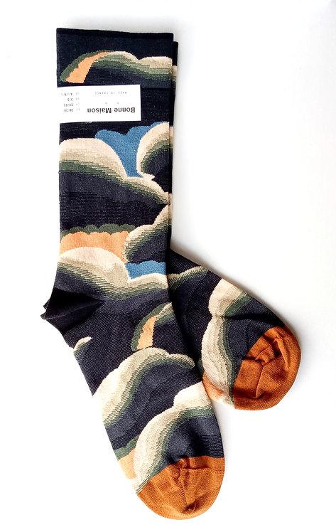 """Chaussettes modèle """"Nuages"""" fabrication française de la marque Bonne Maison"""
