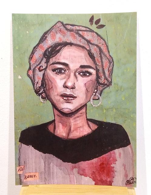 """Carte postale représentant une jeune femme au turban, tirée de l'oeuvre de Mam Kaan """"élégance."""