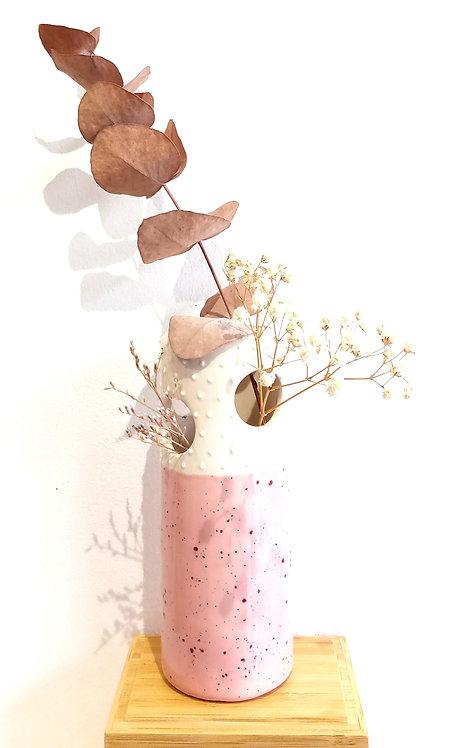 Vase soliflore à trous (modèle haut) rose de Florence Sempé