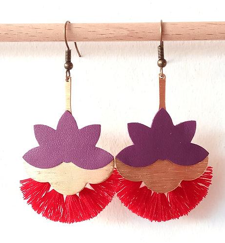 """Boucles d'oreille """"Lotus"""" Lune Rousse"""
