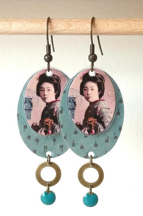 Boucles d'oreille Japon Lune Rousse