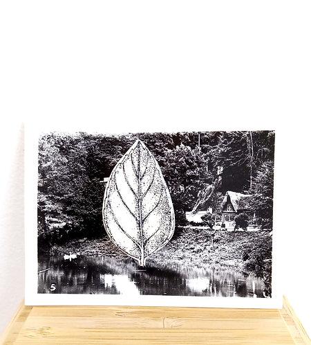 """Broche """"feuille"""" en faïence sur photo ancienne en noir et blanc de Stéphanie Cahorel."""