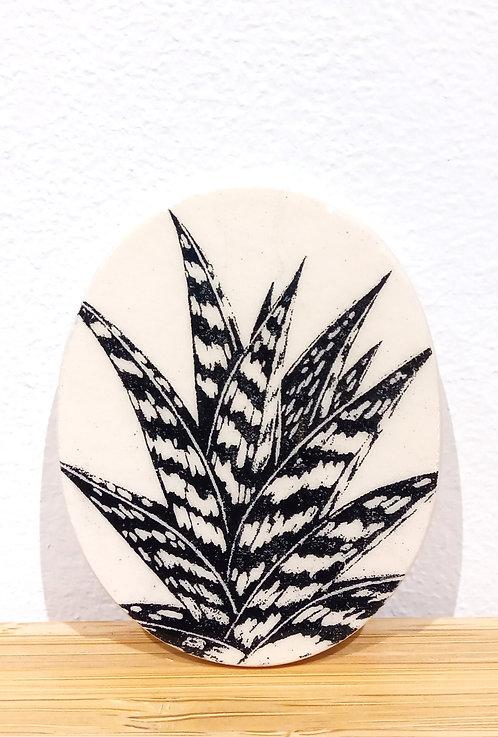 Broche ovale en faïence écrue motif aloé véra de Stéphanie Cahorel