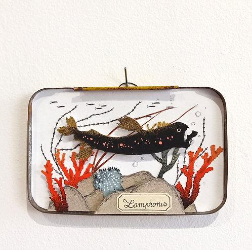 Petite oeuvre de Céline Chevrel en papier découpé dans une ancienne boite en métal représentant un fond marin